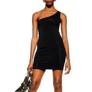 Topshop One Shoulder Bodycon Mini Dress Black US 6